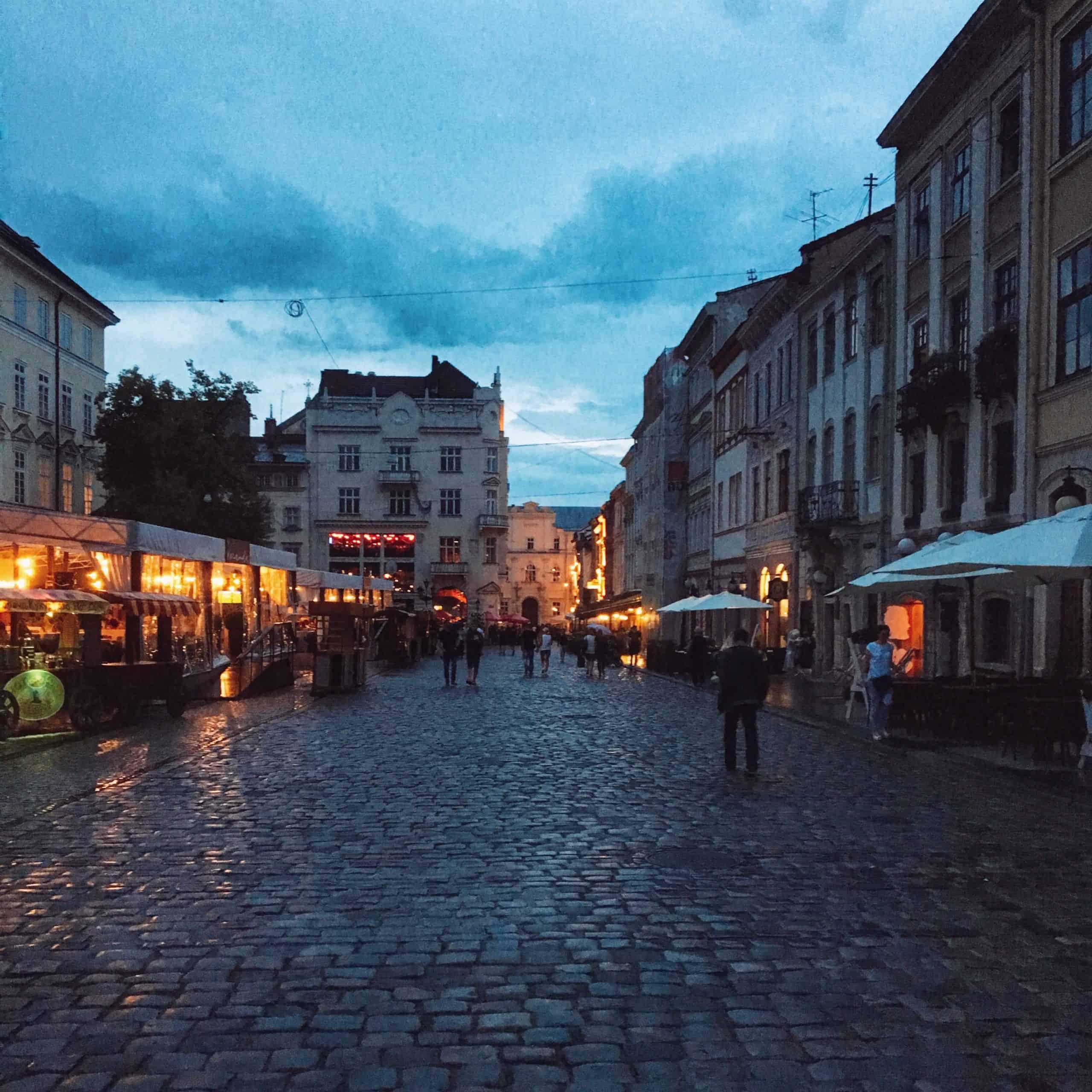 lviv ukraine at night
