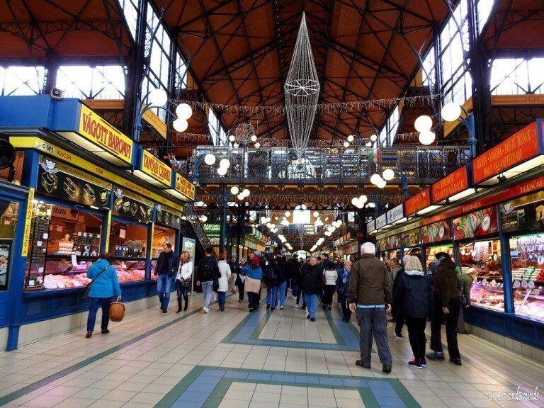 interior of Budapest Market Hall best things to do in Budapest