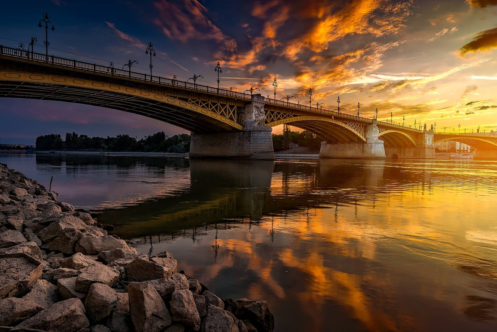 Danube river sunset